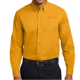 Gold Twill Button Down Long Sleeve-TU with Tiffin Universrity Horizontal