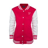 Ladies Pink Raspberry/White Fleece Letterman Jacket-Primary Logo