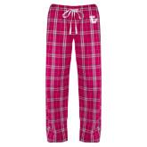 Ladies Dark Fuchsia/White Flannel Pajama Pant-University TU