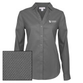 Ladies Red House Diamond Dobby Charcoal Long Sleeve Shirt-TU with Tiffin Universrity Horizontal