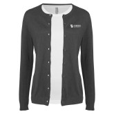 Ladies Charcoal Cardigan-TU with Tiffin Universrity Horizontal