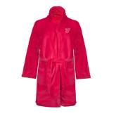 Ladies Pink Raspberry Plush Microfleece Shawl Collar Robe-Primary Logo