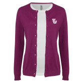 Ladies Deep Berry Cardigan-University TU