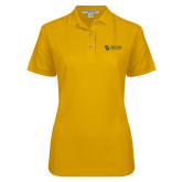 Ladies Easycare Gold Pique Polo-TU with Tiffin Universrity Horizontal