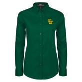 Ladies Dark Green Twill Button Down Long Sleeve-University TU