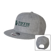 Heather Grey Wool Blend Flat Bill Snapback Hat-TU with Tiffin Universrity Horizontal