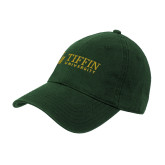 Dark Green Twill Unstructured Low Profile Hat-TU with Tiffin Universrity Horizontal