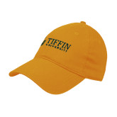 Gold Twill Unstructured Low Profile Hat-TU with Tiffin Universrity Horizontal