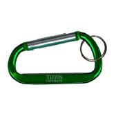 Green Carabiner with Split Ring-Tiffin University Engraved