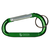 Green Carabiner with Split Ring-TU with Tiffin Universrity Horizontal Engraved