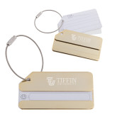 Gold Luggage Tag-TU with Tiffin Universrity Horizontal Engraved