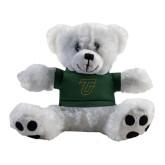 Plush Big Paw 8 1/2 inch White Bear w/Dark Green Shirt-Primary Logo