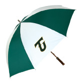 62 Inch Forest Green/White Umbrella-Primary Logo