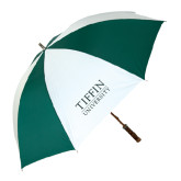 62 Inch Forest Green/White Umbrella-Tiffin University