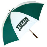 62 Inch Forest Green/White Umbrella-Tiffin University Arched and Stacked