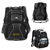 High Sierra Swerve Black Compu Backpack-TU with Tiffin Universrity Horizontal