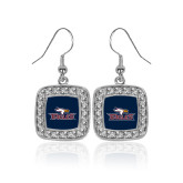 Crystal Studded Square Pendant Silver Dangle Earrings-Eagle Head w/ Eagles
