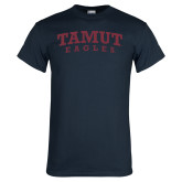 Navy T Shirt-Arched TAMUT Eagles