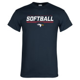 Navy T Shirt-Softball Stencil Flat