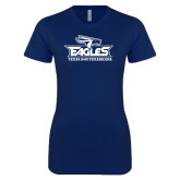 Next Level Ladies SoftStyle Junior Fitted Navy Tee-Eagle Head w/ Eagles Stacked