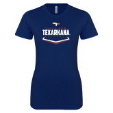 Next Level Ladies SoftStyle Junior Fitted Navy Tee-Texarkana Baseball Plate Stacked