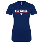 Next Level Ladies SoftStyle Junior Fitted Navy Tee-Softball Stencil Flat