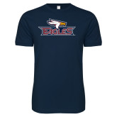 Next Level SoftStyle Navy T Shirt-Eagle Head w/ Eagles
