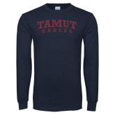 Navy Long Sleeve T Shirt-Arched TAMUT Eagles