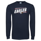 Navy Long Sleeve T Shirt-Slanted Texas A&M-Texarkana Eagles