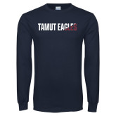 Navy Long Sleeve T Shirt-TAMUT Eagles Two-Tone