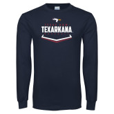 Navy Long Sleeve T Shirt-Texarkana Baseball Plate Stacked