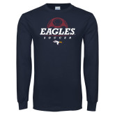 Navy Long Sleeve T Shirt-Eagles Soccer Half Ball