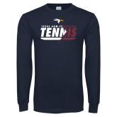 Navy Long Sleeve T Shirt-Texas A&M Texarkana Tennis Flat