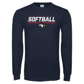 Navy Long Sleeve T Shirt-Softball Stencil Flat