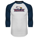 White/Navy Raglan Baseball T-Shirt-Eagle Head w/ Eagles