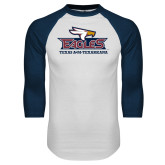 White/Navy Raglan Baseball T-Shirt-Eagle Head w/ Eagles Stacked