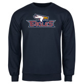 Navy Fleece Crew-Eagle Head w/ Eagles