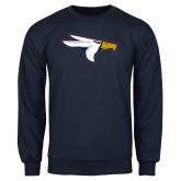 Navy Fleece Crew-Eagle Head