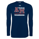 Under Armour Navy Long Sleeve Tech Tee-Primary Mark