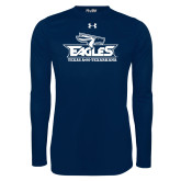 Under Armour Navy Long Sleeve Tech Tee-Eagle Head w/ Eagles Stacked