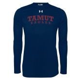 Under Armour Navy Long Sleeve Tech Tee-Arched TAMUT Eagles