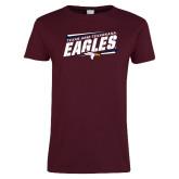 Ladies Maroon T Shirt-Slanted Texas A&M-Texarkana Eagles