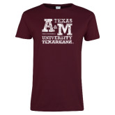 Ladies Maroon T Shirt-Primary Mark Distressed