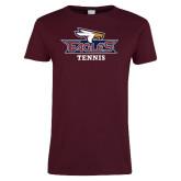 Ladies Maroon T Shirt-Tennis