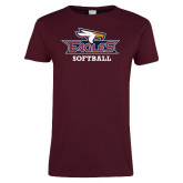 Ladies Maroon T Shirt-Softball