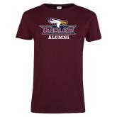 Ladies Maroon T Shirt-Alumni