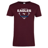 Ladies Maroon T Shirt-TAMUT Eagles Baseball Diamond