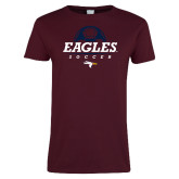 Ladies Maroon T Shirt-Eagles Soccer Half Ball