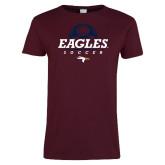 Ladies Maroon T Shirt-Eagles Soccer Half Ball
