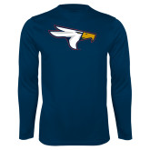 Performance Navy Longsleeve Shirt-Eagle Head